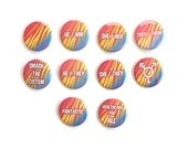 Pansexual Pride Flag Pin Button / Tiger Stripes / Pronouns / LGBT Pride