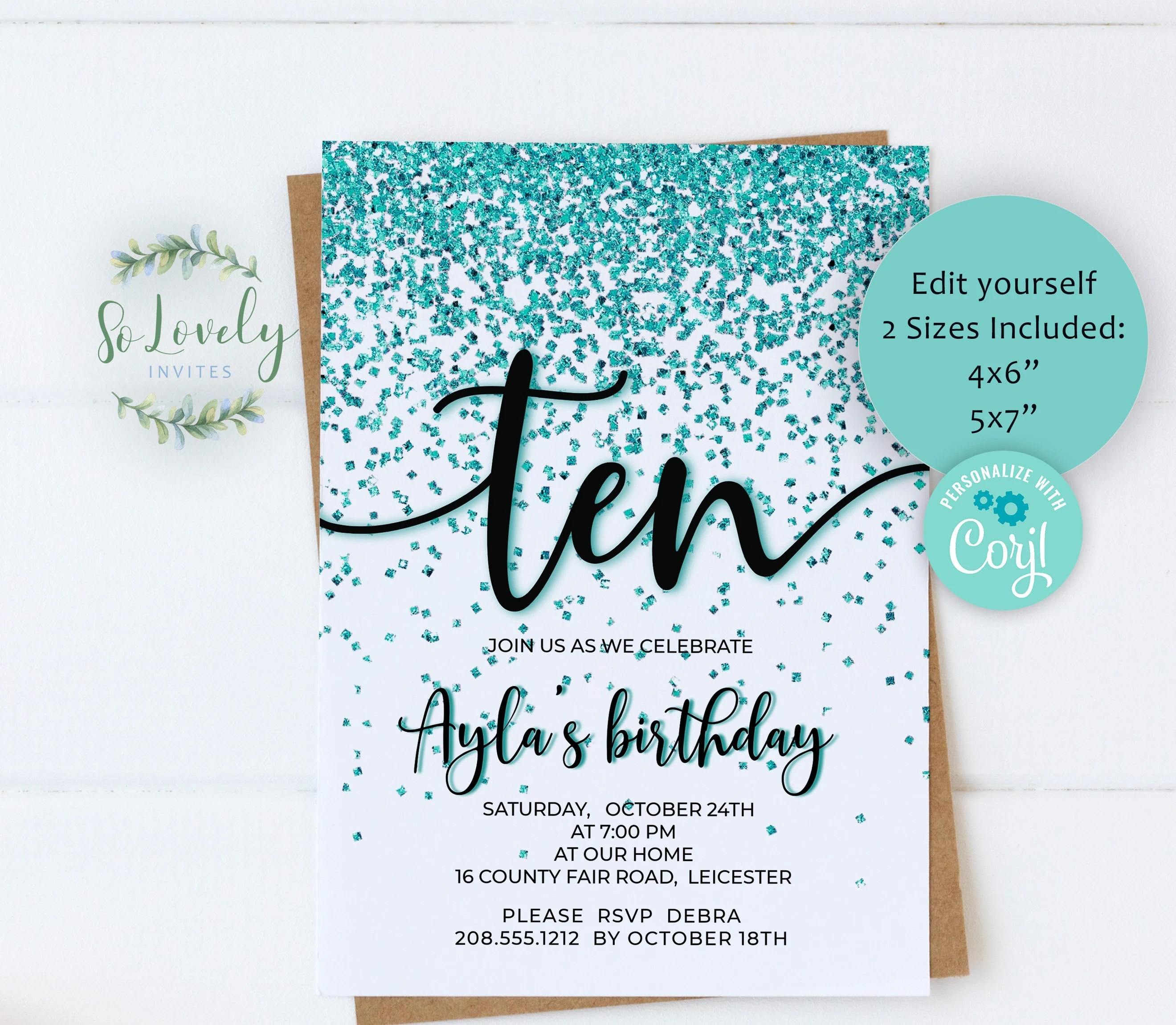 10th birthday invite etsy