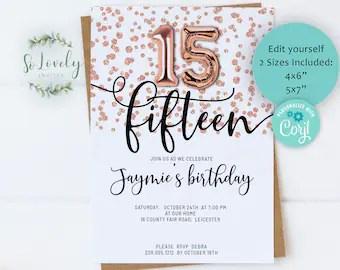 15th birthday invitation etsy