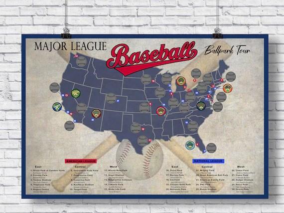pro baseball stadium scratch off tour map ballpark stadium tracker checklist baseball stadium poster