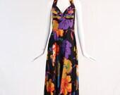 Vintage Floral Printed Halter Neck Maxi Dress, Black Halter Neck Maxi Dress With Multicolor Floral Print, Floral Low Back Maxi Dress