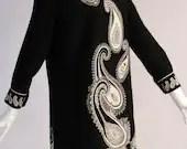 Rare Vintage 1960s Paisley Shift Dress