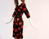 1950s Poppy Flower Print, Vintage Valentines Day Dress, Patterned Little Black Dress, Rare Vintage Red and Black Floral Dress
