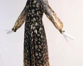 Authentic Vintage 1970s Gold Thread Paisley Maxi Dress with Sheer Patterned Sleeves