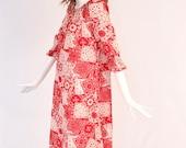 Vintage 1970s Bandana Patchwork Dress, Vintage Bohemian Patchwork Prairie Dress, Bohemian 1970s Bandana Summer Dress, 1970s Cotton Dress