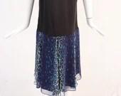 Vintage Black Shift Dress with Blue Leopard Detail, Leopard Print Chiffon Skirt Dress, 1980s Leopard Drop Waist Dress