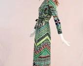 Vintage 1970s Galerie Geometric Maxi Dress, Vintage Green and Blue Geometric Maxi Dress, Mock Neck Maxi Dress, Funky 1970s Disco Maxi Dress