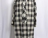 Vintage 1970s Gerard Darel Paris Plaid Shirt Dress, 1970s Black and White Shirt Dress