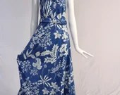 Authentic Vintage Blue and White Floral Maxi Dress