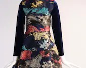 Vintage Abstract Dress with Blue Velvet Sleeves