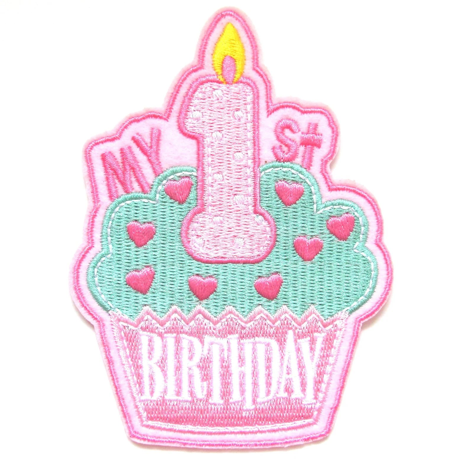 My 1st Birthday Iron On Patch Girls Pink Baby First Gift Etsy