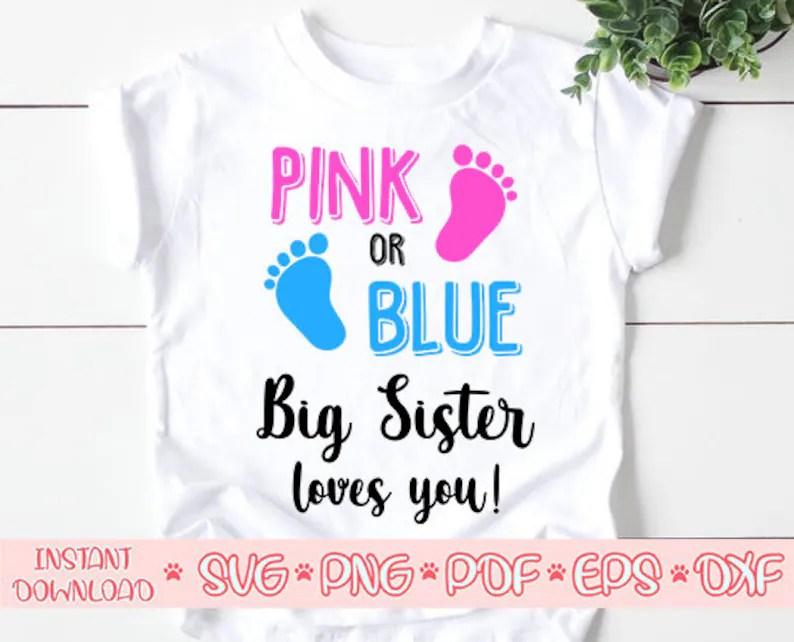 Download Pink or blue big sister loves you svgBig sister svgPink or ...