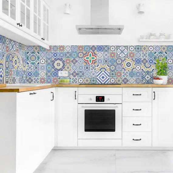self adhesive splashback portuguese tiles kitchen decor etsy