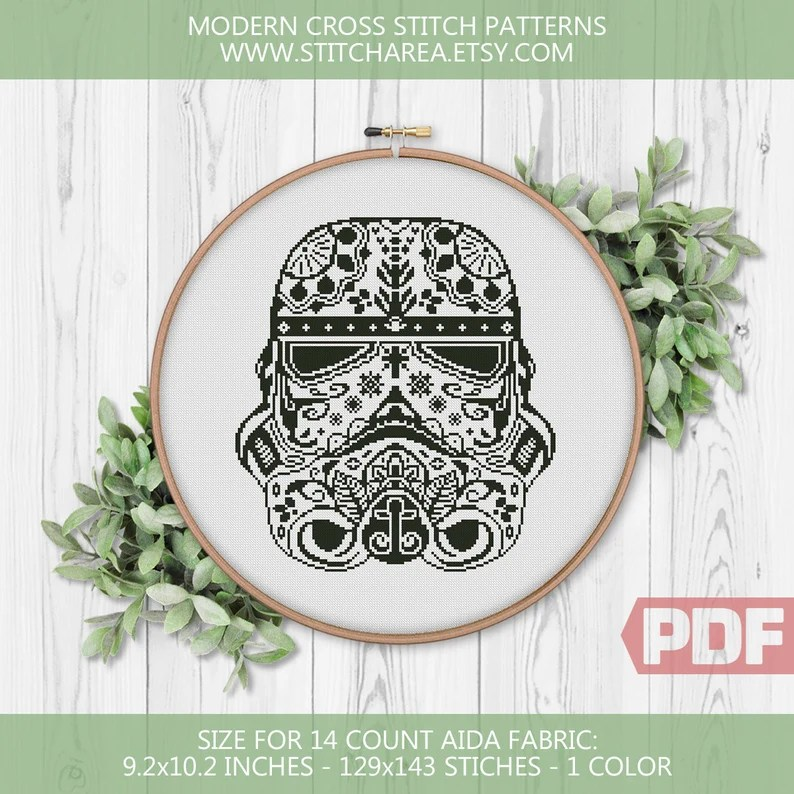 Sugar Skull Storm Trooper Cross Stitch Pattern
