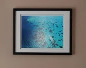 Boat and corals photography print