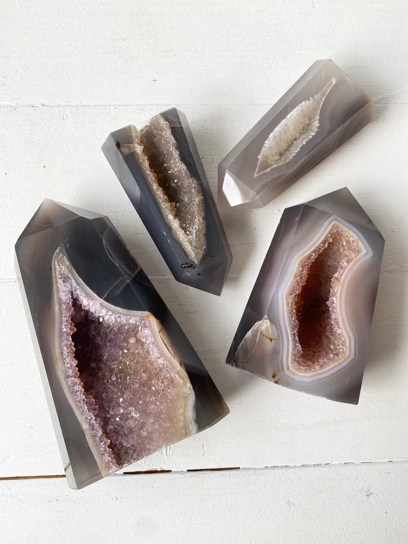 Agate Towers with Druzy Agate Crystal With Druzy Agate image 0