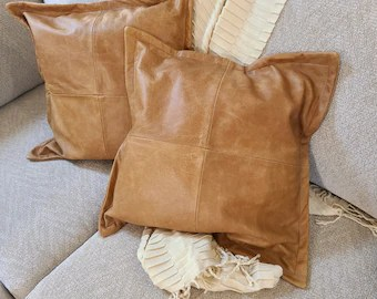 brown leather pillow etsy