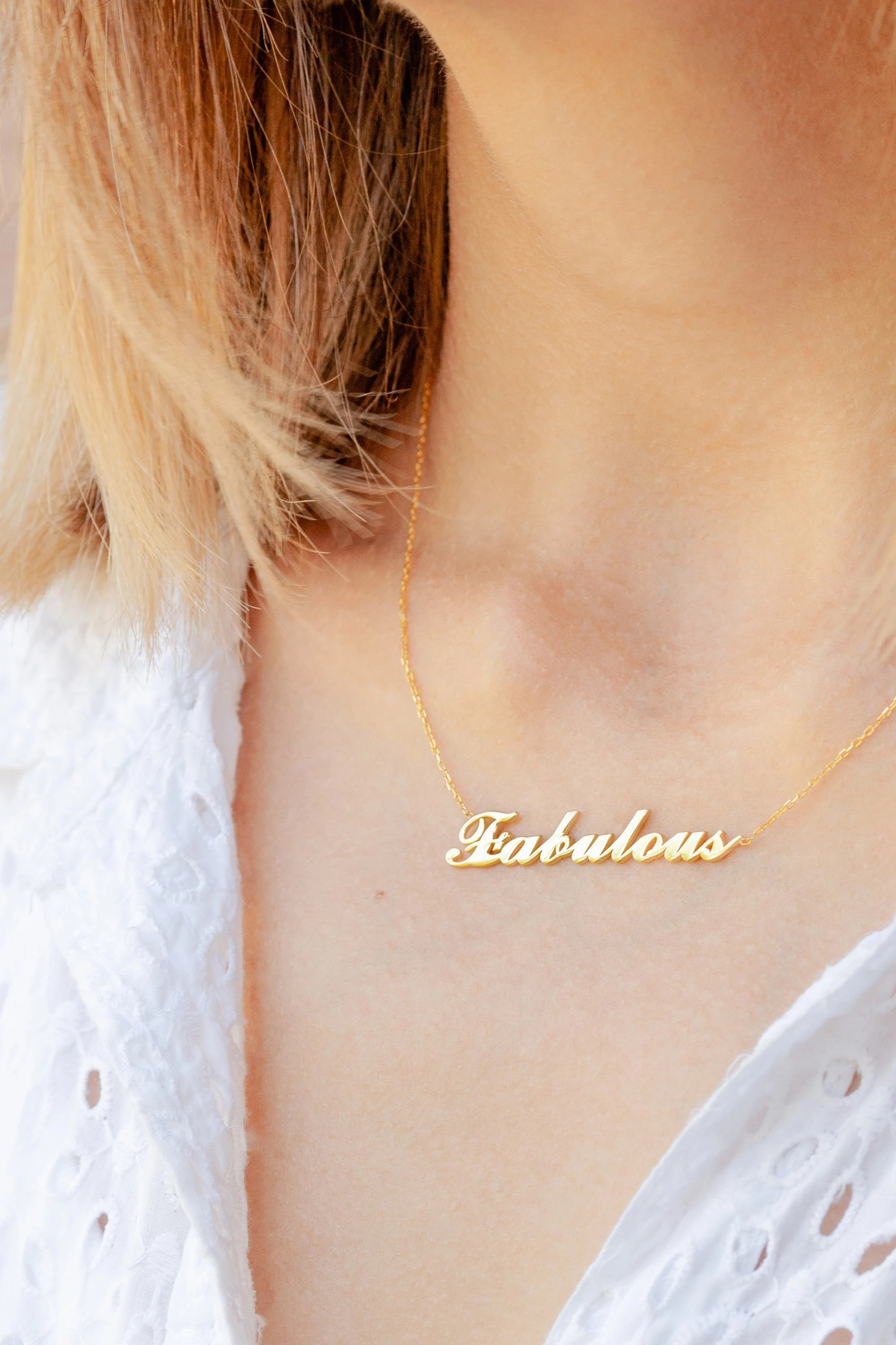 Gold Personalized Word  Custom Name Necklace  Personalized image 3