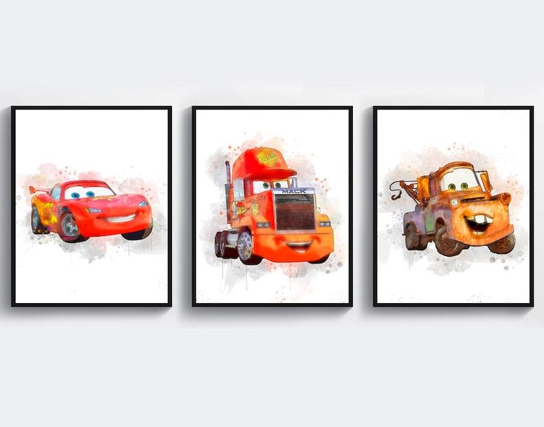 Disney Cars Print Art Lightning Mcqueen Mack Truck Tow Mater Etsy