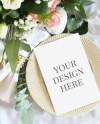 Card Mockup Wedding Invitation Mockup Pink Floral Menu Card Etsy