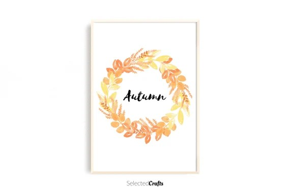Autumn Wreath Watercolor Art Print   Handmade Fall & Autumn Poster   Hand Painted Aquarell   Printable   Digital Download   JPG and PDF