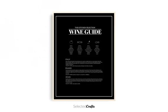 Wine Guide Kitchen Art Print   Wine poster   Kitchen Decor   Kitchen Printable   Restaurant Decor   Digital Download   Scandinavian Wall Art