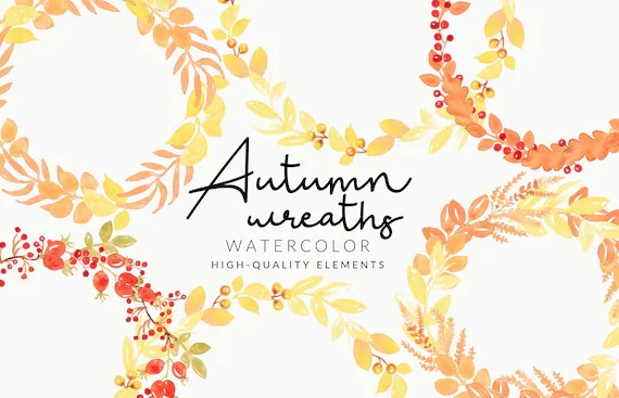 Soft Autumn Wreaths Watercolor Clipart   Handmade Fall & Autumn   Aquarell   Digital Download   Separate PNG Elements    Floral Wreaths