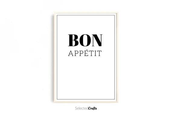 Bon Appétit Kitchen Art Print, A Instant Downloadable Digital File   Cooking Printable   Kitchen Wall Art   Kitchen Print   Food Poster  