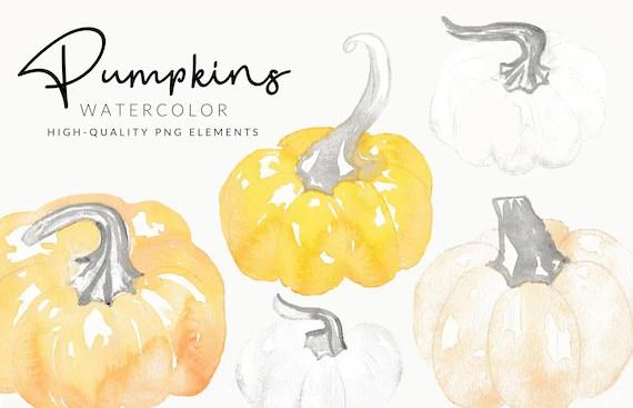 Soft Pumpkin Watercolor Clipart   Handmade Fall & Autumn   Hand Painted Aquarell   Digital Download   Separate PNG Elements   Pastel Clipart