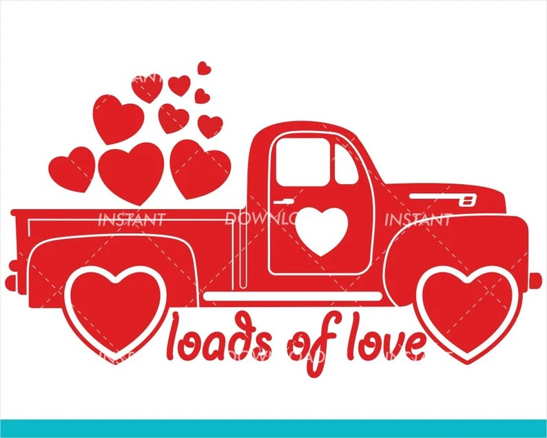 Download Valentines Red Truck SVG / Loads of love SVG / Valentines ...