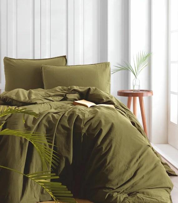 dark olive green duvet cover set 3 pcs 1 duvet 2 pillow cases stone washed bedding duvet cover queen king