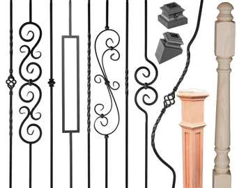Premium Iron Balusters Iron Spindles Metal Stair Parts Etsy | Banister Rail And Spindles | Square | Traditional | Carved Wood | Residential | Glass