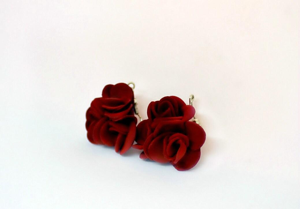 Burgundy/Marsala Red Roses Dangling Earrings S.Valentine / image 3