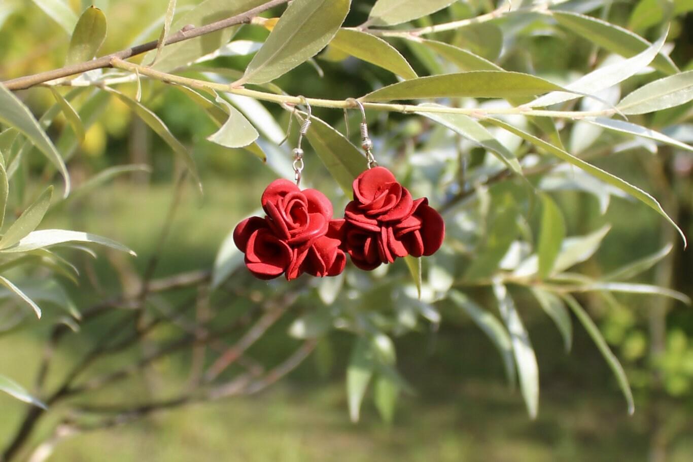 Burgundy/Marsala Red Roses Dangling Earrings S.Valentine / image 6