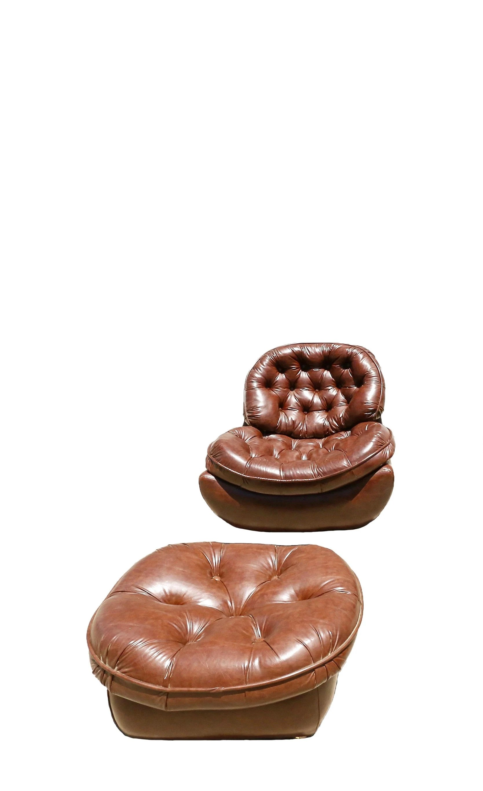 Vintage Modern Tufted Leather Style Chairs And Ottoman