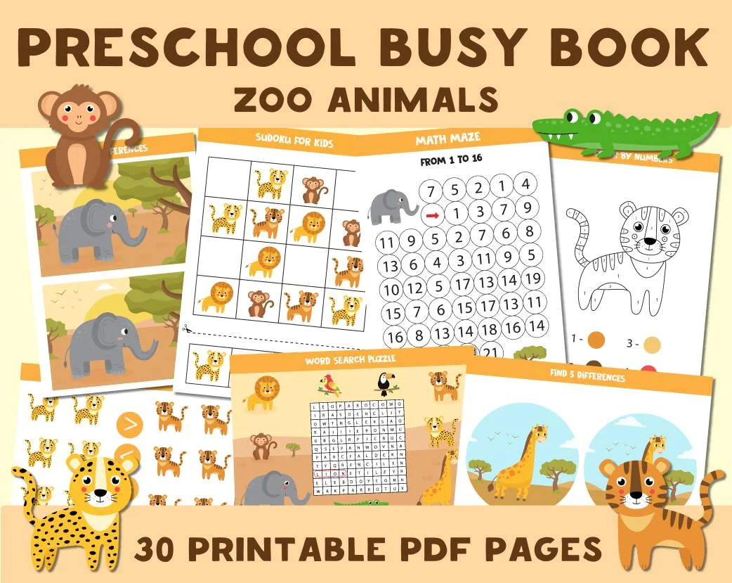 Printable Busy Book Zoo Animals Worksheets Preschool