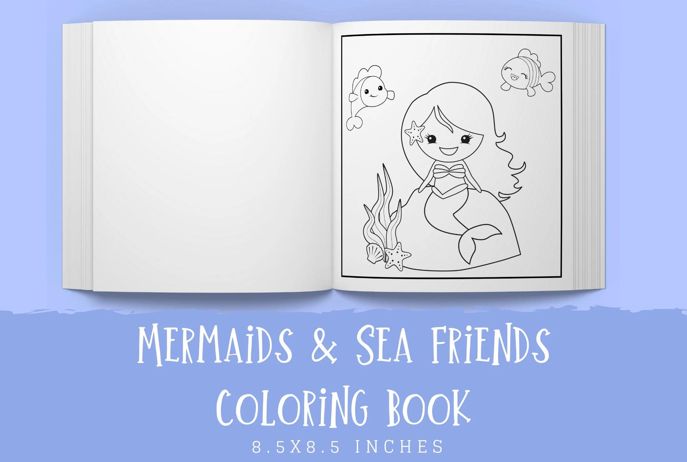 Kdp Interior Template Coloring Book For Kids Mermaids Sea Etsy