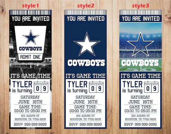 Dallas Cowboys Invitation Cowboys Birthday Invitations Etsy