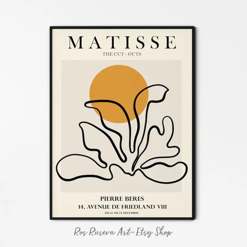 matisse poster matisse cut out henri matisse print matisse wall art matisse exhibition poster one line art matisse abstract art