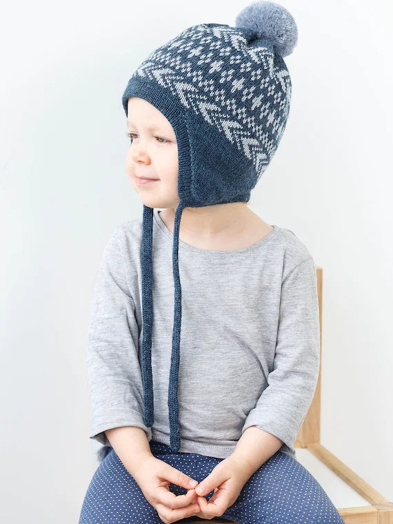Fair Isle Baby Hat With Ear Flaps Toddler Winter Hat With Etsy