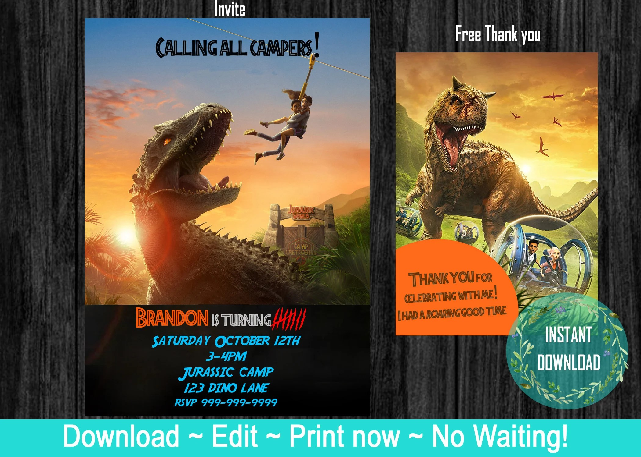 jurassic park camp camp cretaceous jurassic world birthday invite with free thank you