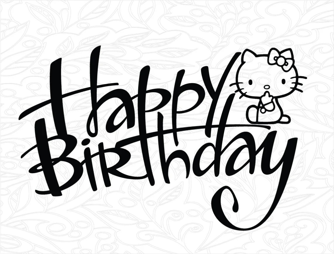 Download Hello Kitty Cake topper svg, Happy Birthday svg, Birthday ...
