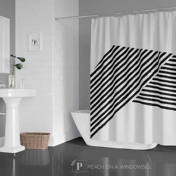 mid century modern shower curtain abstract stripes bath curtain in 71x74 bold black and white bathroom decor