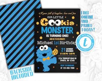 Cookie Monster 1st Birthday Etsy