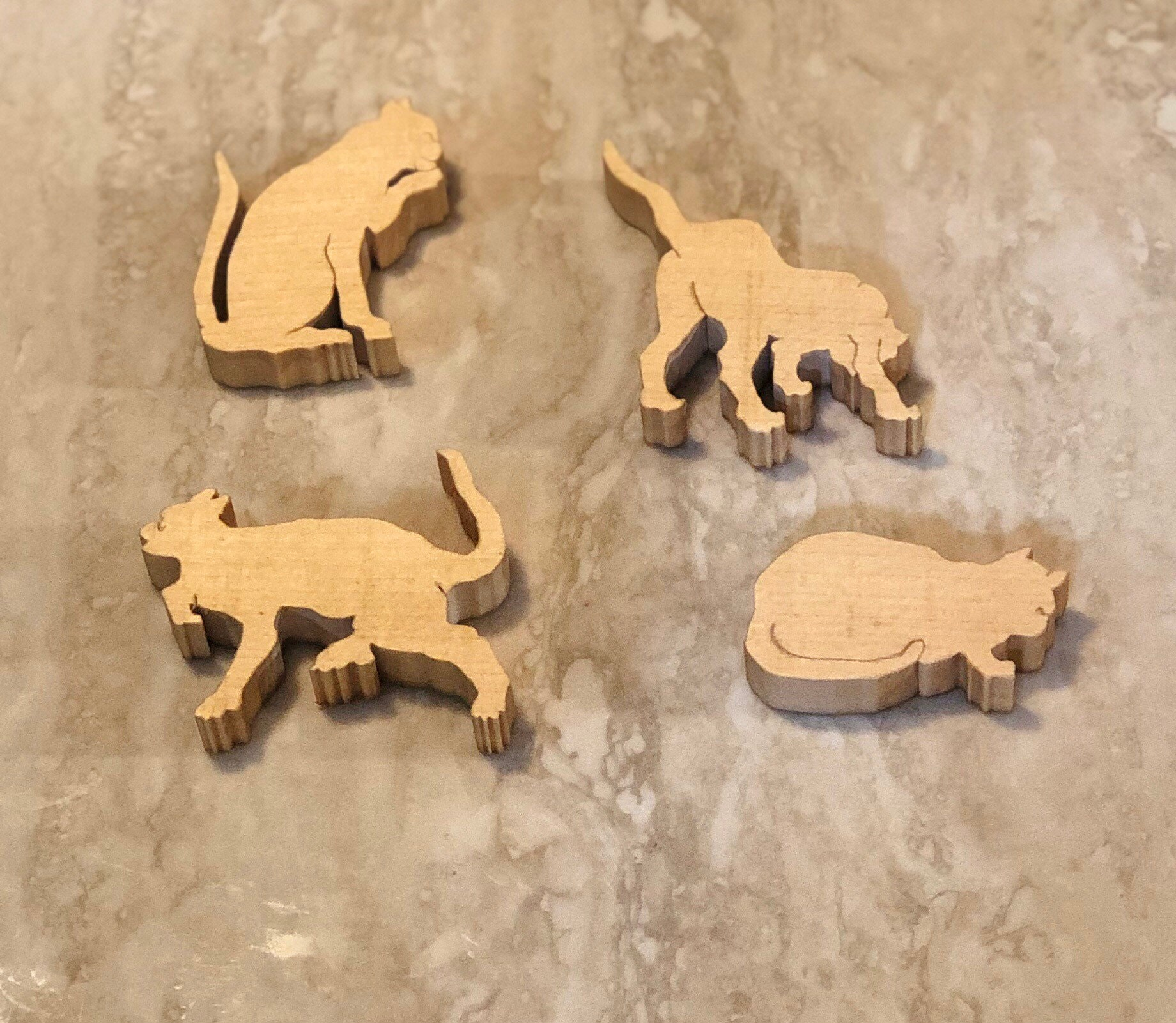 WALDORF Wooden toy motor skills Montessori  Cats in different image 1