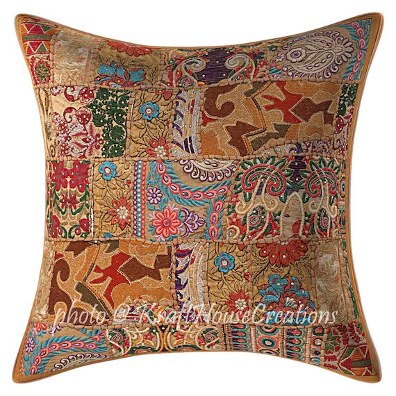 boho cushion covers hand crafted patchwork embroidered cushion cover floral pillow cover cotton 24x24 in cushion cover