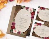 Rustic Burgundy Wedding Invitation - Burgundy Floral Invite - Autumn Wedding Invite - Rustic Wood and Flowers Invitation
