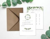 Wedding RSVP and Menu on Laid Textured Card - Foliage Eucalyptus Design - A6 & A5 Size - Envelope Included