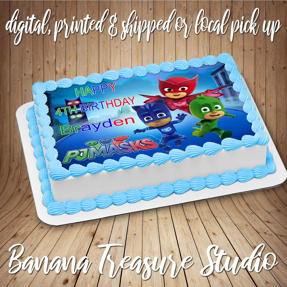 Pj Masks Edible Cake Cookie Or Cupcake Topper Birthday Etsy