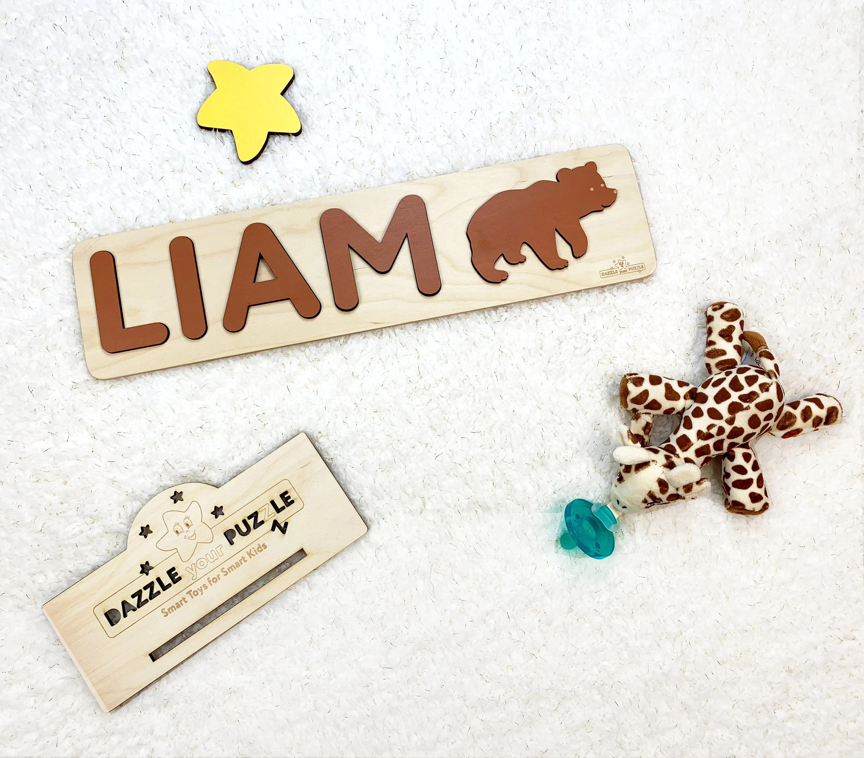 LIAM Personalized Wooden Name Puzzle Handmade Customized image 1